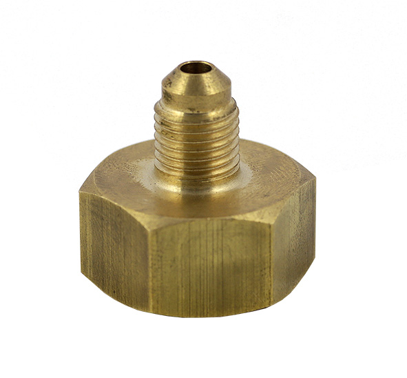 Adattatore per valvola femmina W21,7-1/14 RH (destro) - uscita 1/4 SAE RH (destro) per R134a, R22, R404A, R407C, R407F ecc.