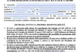Autocertificazione in formato Acrobat PDF editabile, conforme al DPCM 22/3/2020