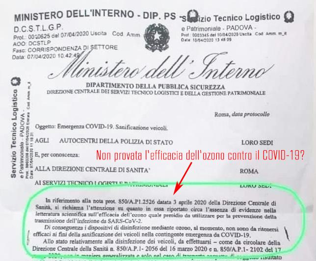 Ozono non ritenuto efficace dal Ministero Interno contro il COVID-19?